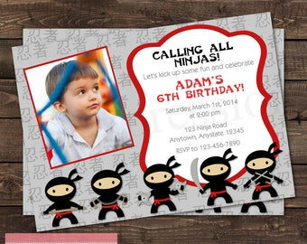 Ninjas Karate Photo Birthday Party Invitation