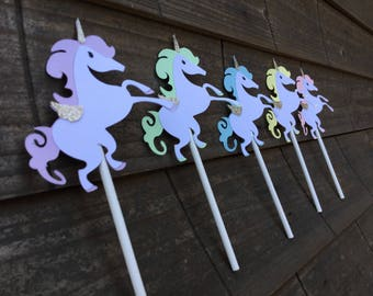 Unicorn themed cupcake toppers