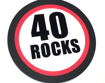 40 Rocks Birthday Cake Topper - Birthday Cake Decoration, Black, Red and White or Your Colors