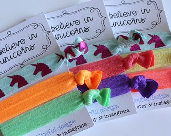 I Believe In Unicorns - No Crease Hair Tie - Party Favors - Soft Hair Tie - Workout Hair Tie