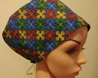 Women's Surgical Cap, Scrub Hat, Chemo Cap, Metallic Stained Glass