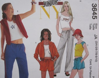 UNCUT Juniors Jacket, Vest, Top, Pants, and Shorts - Size 3/4, 5/6, 7/8, 9/10 - McCalls Sewing Pattern 3645