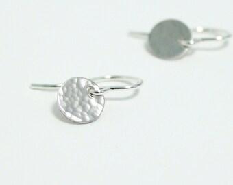 Hammered Earrings, Minimalist, Tiny Disk, Disc Earrings, Small Drop, Handmade Jewelry, Sterling Silver, Simple Dangle Earrings, Petite