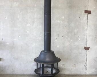 "Mid Century Modern Matte Black Malm ""Spin-a-Fire"" Fireplace (WRGSB6)"