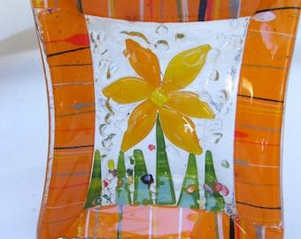 Vintage Orange Art Glass Flower Stripes Rectangle