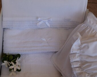 Luxury Girlish Baptismal Set-Nostalgic Lace Ladopana-Soft Towels-Christening Set for Girls