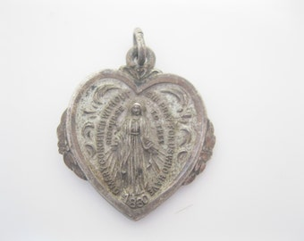 Antique Sterling religious medal holy mary