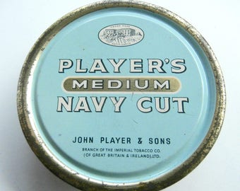 Tobacco Tin - Vintage Tin Box - Players Navy Cut - Vintage Home Decor