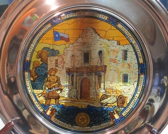 Whole Shop on Sale Texas Stained Glass Plate Sesquicentennial Pewter Rim With Box, US Historical Society