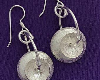 Tea Cup Earrings - Handmade Domed Silver Earrings - Round Silver Earrings - Circle Earrings - Handcrafted Silver Dangle Earrings