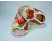 Crochet Baby sandals, Summer sandals, Custom baby shoes, Fashion baby, Baby accessories with 2 layer flower