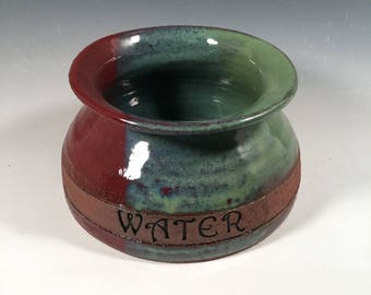 Long Ear Dog Bowl- Spaniel Bowl - mess free dog water bowl -red & green - ready to ship - ceramics - pottery - stoneware - pets - feeding