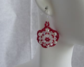 Pearl and Crystal Earrings:  White