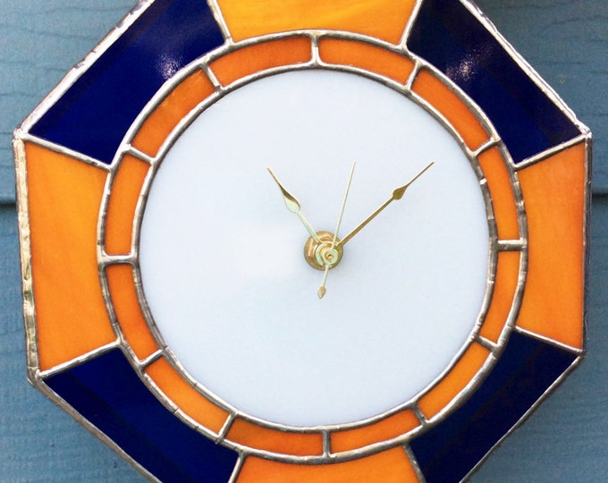 Wall Clock, Stained Glass clock, personalized clock, stained glass art, wall art, wall decor, man cave, Home decor, Room Decor, Boho clocks