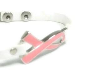 Pink Ribbon Bracelet, Breast Cancer Awareness Jewelry, Breast Cancer Support, October, Pink Ribbon Jewelry, White Leather, Minimalist,