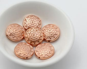 Vintage Copper Lucite Beads Carved Ornate Etched Pillow Coin Sun 18mm (16)