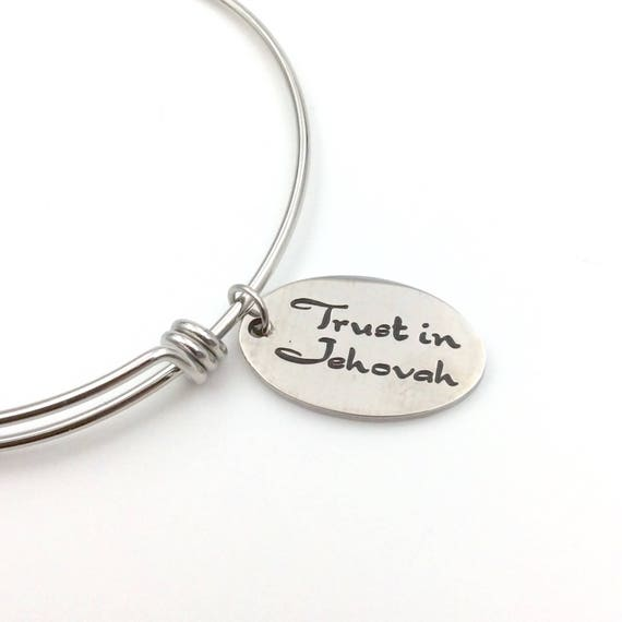 "Stainless Steel ""Trust in Jehovah"" Bangle Bracelet with Blue Monkey Gift Box"