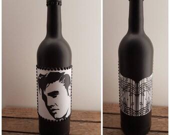 Elvis Presley, Handcrafted, decorative wine bottle.