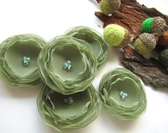 Handmade sheer voile fabric sew on flower appliques (5pcs)- SAGE GREEN BLOSSOMS