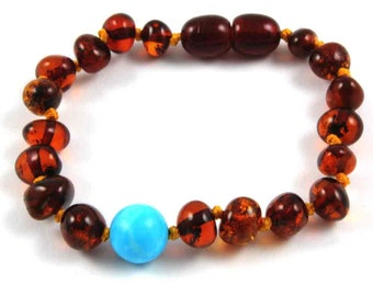 NATURAL BALTIC AMBER Baby Teething Bracelet or Anklet with Certificates of Amber Authenticity
