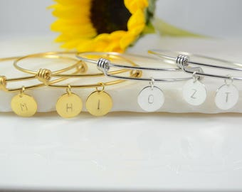 Initial Bracelet, Personalized Initial Bracelet, Initial Bangle, Initial Bracelet, Silver Initial Bracelet, Gold Personalized Bracelet