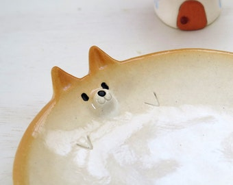 "Ceramic tableware  ""Small plate of Shiba Inu type""  Shiba is Japanese dog. NEW! 柴犬・工房しろ 日本"