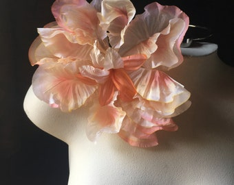 Peach & Cream Silk Flower Lily Hibiscus for Bridal, Corsages, Millinery MFpchcr