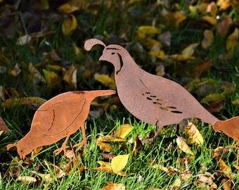 California Quail Garden Stake | Metal Garden Stake | Wild Bird Art | Metal Bird Art | Metal Bird Stake | Rusty Metal Quail Art | Quail |S902