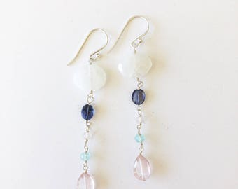 Long Silver Earrings, Long Gemstone Earrings, Silver Gemstone Earrings, Colorful Earrings, Colorful Jewelry, Semi Precious Stone Jewelry