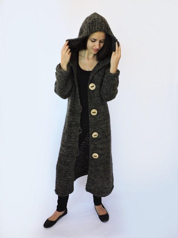 Hooded sweaters Cozy Extra Green Chunky Crochet hem womens coat coat winter women Duster cardigan sweater Long long knit cardigan duster BqrB0