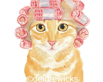Cat Watercolour PRINT - Orange Tabby Cat Painting, Hair Curlers, Cat Illustration, Cat Lover Gift
