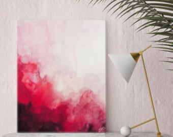 Watercolor Print, Canvas Art, Red Abstract Art, Canvas Print, Art Print, Wall Art, Watercolor Painting, Home Decor, Wall Decor.