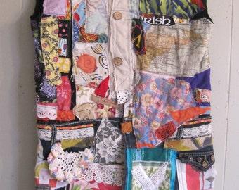Fabric Collage Folk Art Clothing - IRISH LASS Festival Dress Denim Apron - Patchwork Quilt Scraps Altered Couture - mybonny