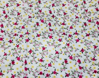 Vintage  Pink & Yellow Flowers on White Fabric. Craft Fabric.