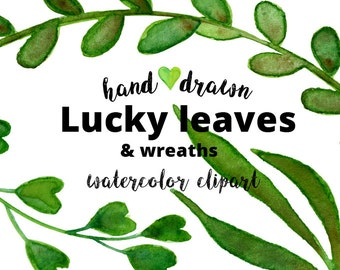 22 Green watercolor clipart   leaves & wreaths   Lucky wedding invitation   png   handpainted watercolour  printable   digital download