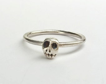 Sterling Silver Tiny Skull Memento Mori Stacking Ring