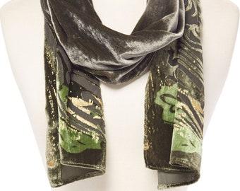Women's Vintage Velvet Abstract Burnout Plaid Silk-Blend Scarf