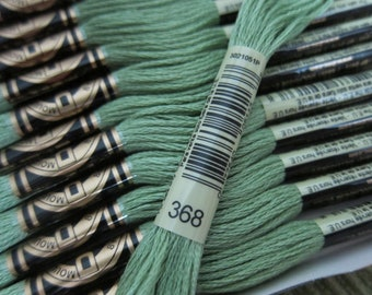 Light Pistachio Green #368, DMC Cotton Embroidery Floss - 8m Skeins - Available in Single Skeins, Larger Pkgs & Full (12 skein) Boxes