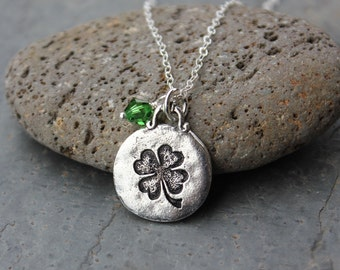 Lucky clover necklace - pewter charm, Swarovski crystal dangle, sterling silver chain - Good Luck - birthstone colors - Free Shipping USA