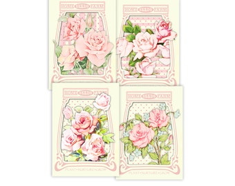 Printable shabby chic roses seed packets / vintage cards / digital collage sheet / instant download / downloadable / 3 x 4 and 2.5 x 3.5