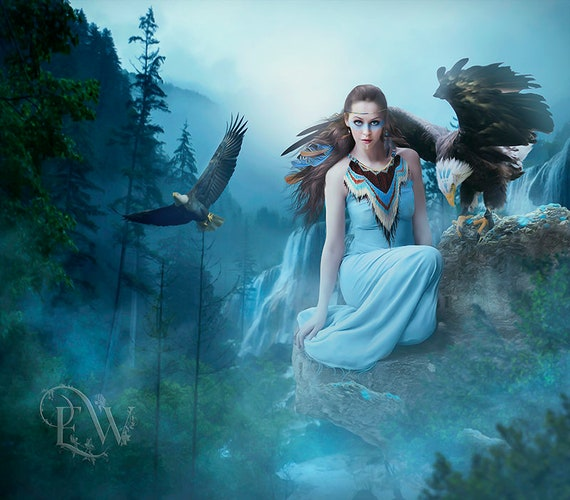 fantasy native woman on Mountian with bald Eagle art print