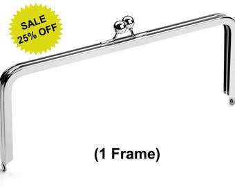 """1pc - 10"""" x 4"""" Nickel Purse Frame with Ball Clasp - Free Shipping (PURSE FRAME FRM-128)"""