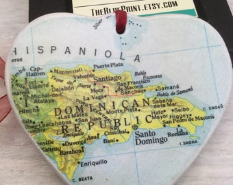 Dominican republic Map Christmas Ornament, Your Special Place in the Heart / HONEYMOON Gift / Wedding Map Gift / Travel Tree Ornament /