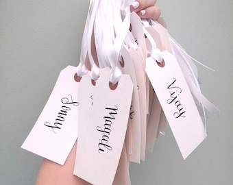9 Blush and Navy Calligraphy Luggage Tag with Off-White Ribbons