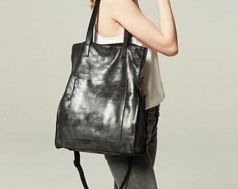 Leather cross body bag leather shoulder bag leather shopper bag women metal color handmade leather handbag birthday gift for her