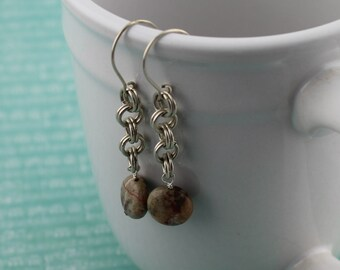 Sterling Silver Chainmaille Earrings with Dream Jasper Dangles