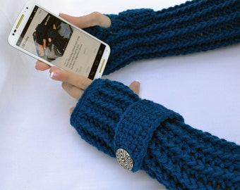 Royal blue arm warmers, fingerless gloves, texting gloves, crochet gloves, boho gloves, hand warmers, mittens, boho fashion, button gloves