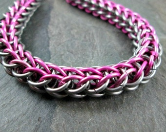 Chainmaille Bracelet - Full Persian - Chainmail Bracelet - Pink and Steel - Chain Maille Jewelry - Pink Chainmaille