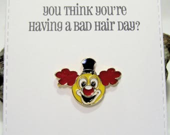 Clown - Enamel Pin with handmade Punny card & envelope - Lapel Pin - Hard Enamel Pin - Nature - Kawii -Trending - Backpack Pin