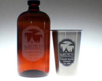 Personalized Beer Growler and 1 glass set with outdoors camping art  Homebrew, personalized growler, custom Beer Glass, Beer Gift, Beer
